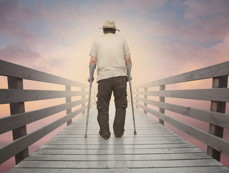 Old man crossing the bridge of time