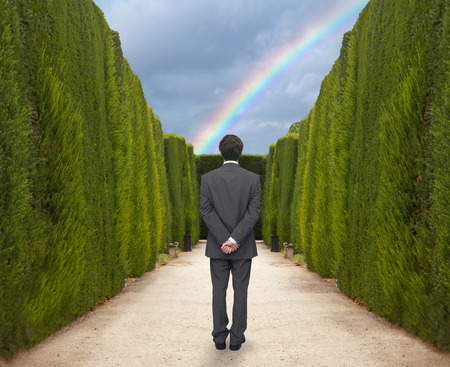 impasse: Young businessman watching the rainbow in the park