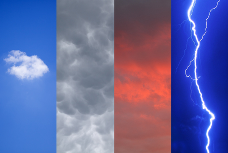 Colored picture of different weather.Storm.Cloud.Dawn.Lightning.