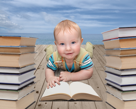 Little child with a book Stock Photo