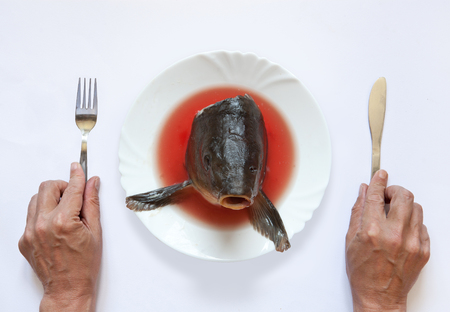 picture of Artistic surreal breakfast with fish