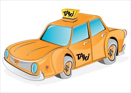 causal: cartoon yellow taxi car on white.