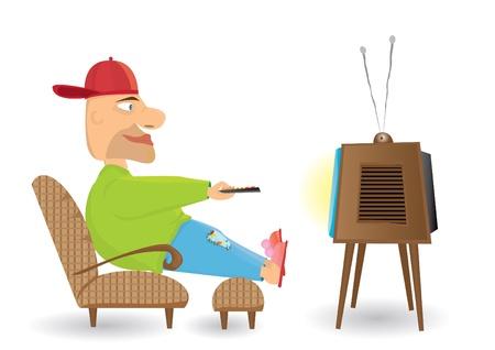 man watching tv: Man watching TV.