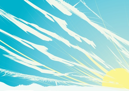 sun in cloudly sky. illustration. Vector