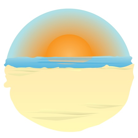 sunset on ocean. illustration Vector