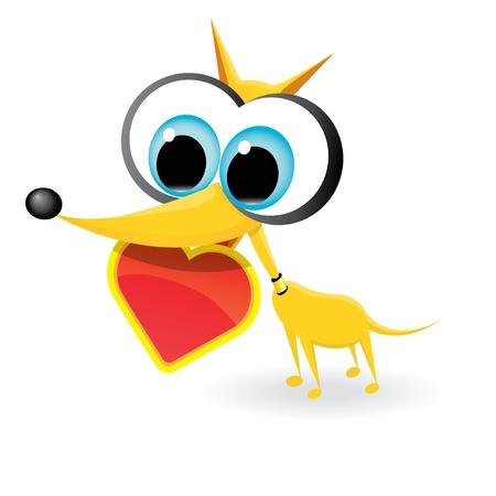 cute cartoon dog holding heart Stock Vector - 17475463