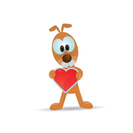 cute cartoon dog holding heart   Vector