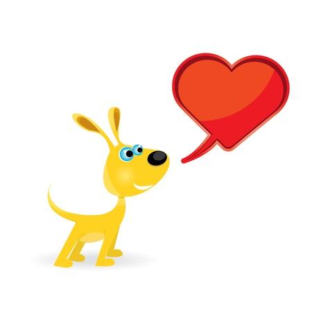 cute cartoon dog: cute cartoon dog with heart   Illustration