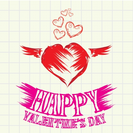 hand drawn valentine day love beautiful card  Vector