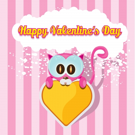cute cartoon pink cat holding heart  Vector