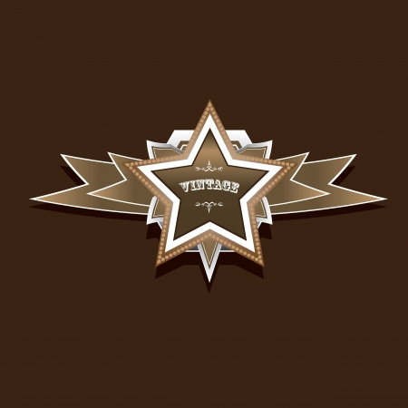 police badge: vector vintage star label retro style Illustration