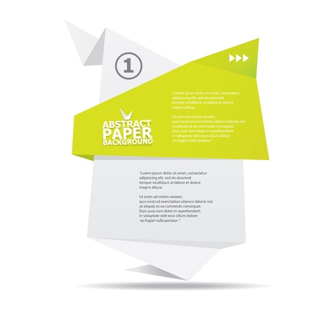 Abstract white and green paper origami background  Illustration