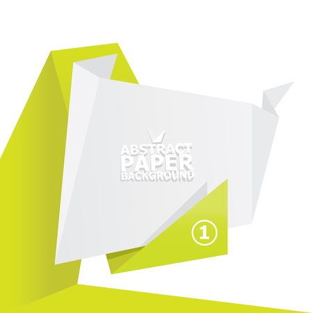 Abstract white and green paper origami background  photo