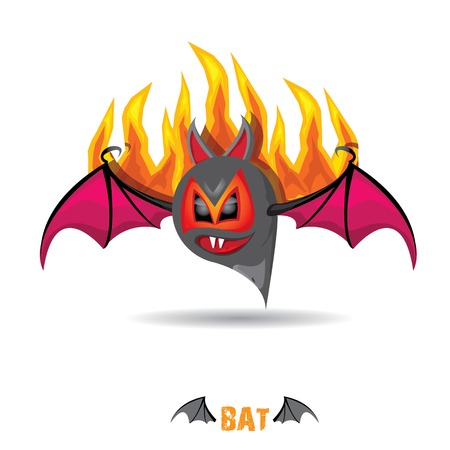 eyes cave: funny devil bat with wings. halloween character