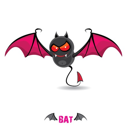 vector funny devil bat with wings. halloween character Vector