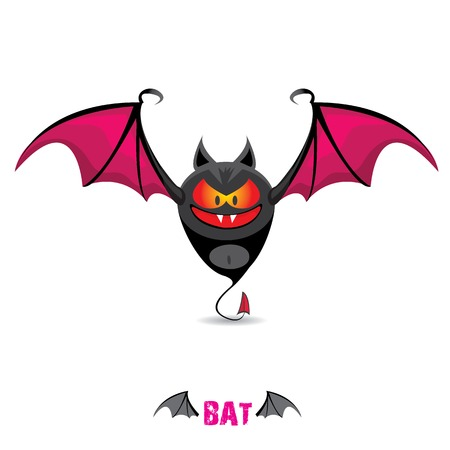 funny devil bat with wings. halloween character Vector