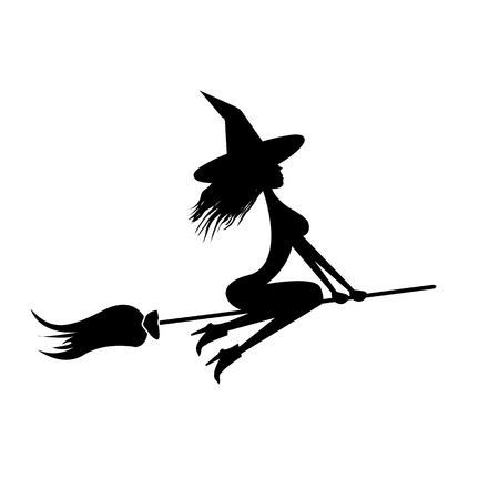 silhouette of Witch flying on broom. Illustration