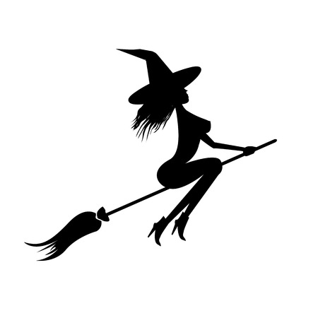 silhouette of Witch flying on broom. Vector