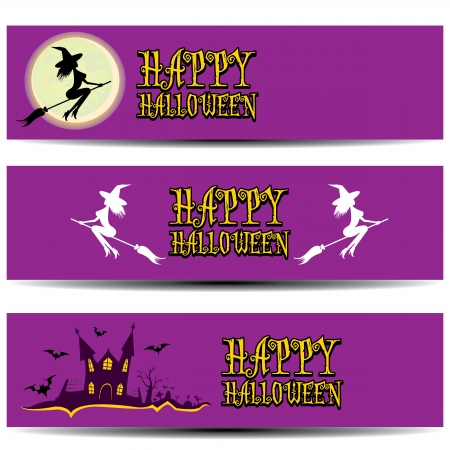Illustration  halloween banner set for web header design. Vector