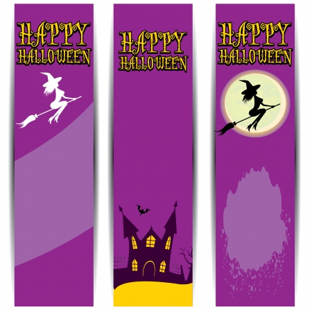 Illustration halloween banner set for web header design. Vector