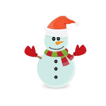 Vecteur de bonhomme de neige isolé sur fond blanc. joyeux noël fond Vecteurs