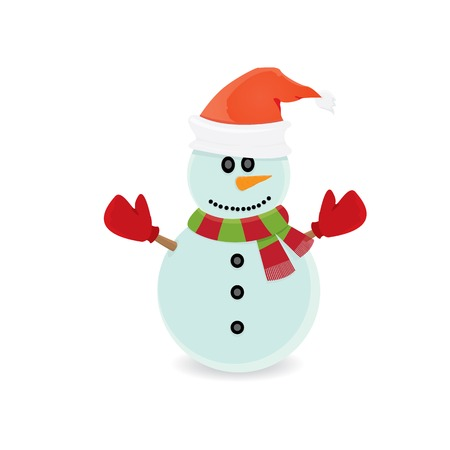 Vector snowman isolated on white. merry christmas background
