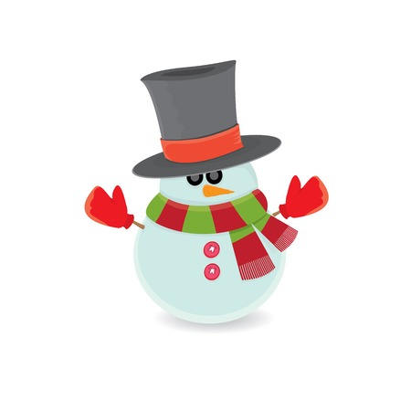Vector snowman isolated on white. merry christmas background Vector