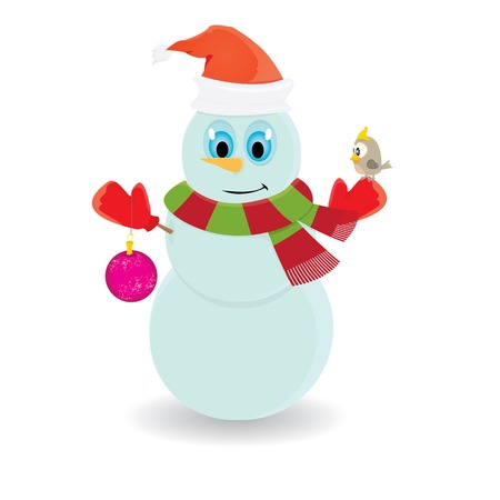 Illustration snowman isolated on white. merry christmas background