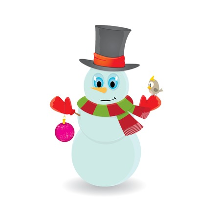 Vector snowman isolated on white. merry christmas background photo