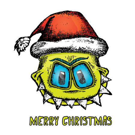 doodle style monster. merry christmas creative card Illustration