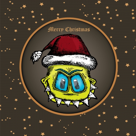 doodle style monster. merry christmas creative card Vector
