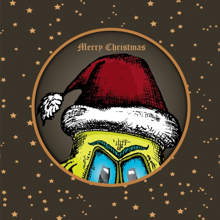 doodle style monster. merry christmas creative card Stock Vector - 23650452