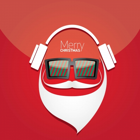 Vector Hipster santa poster for party or greeting card. Stock Vector - 23650496