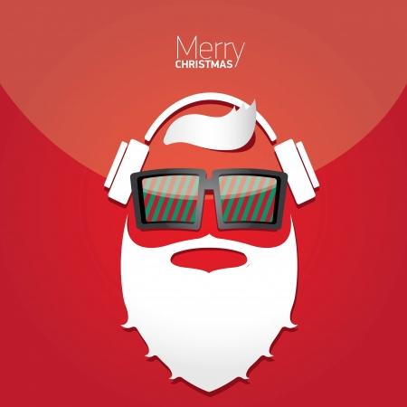 indie: Vector Hipster de santa cartel para la fiesta o de felicitaci�n. Vectores
