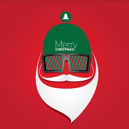 Vector Hipster santa poster for party or greeting card. Vector