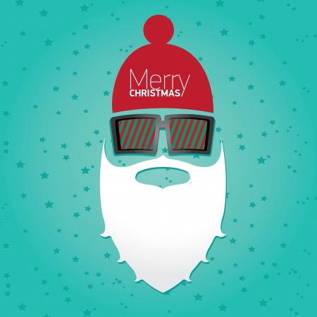 whisker: Vector Hipster santa poster for party or greeting card.