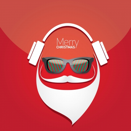 Vector Hipster santa poster for party or greeting card. Stock Vector - 23849538