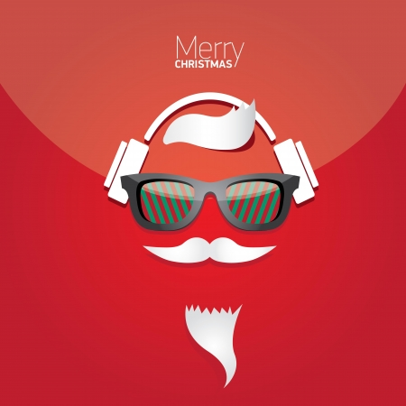 Vector Hipster santa poster for party or greeting card. Stock Vector - 23849547