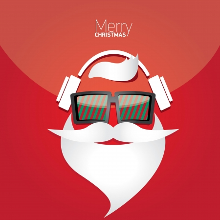 indie: Vector Hipster santa poster for party or greeting card.