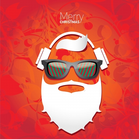Vector Hipster santa poster for party or greeting card. Stock Vector - 23854749