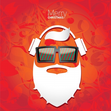 Vector Hipster santa poster for party or greeting card. Stock Vector - 23854752
