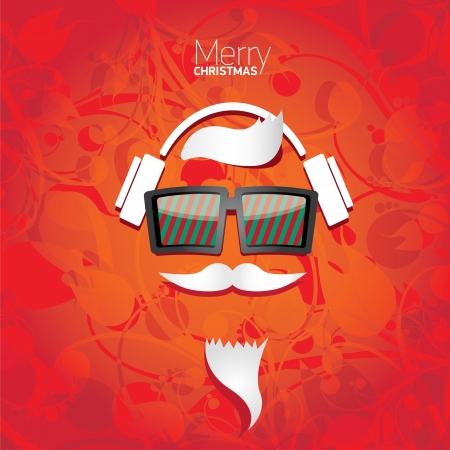 Vector Hipster santa poster for party or greeting card. Stock Vector - 23854753