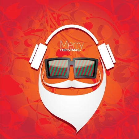 Vector Hipster santa poster for party or greeting card. Stock Vector - 23855730