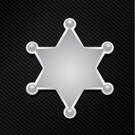police badge: vector silver police star badge . six-pointed star