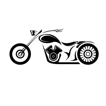 motor transport: vector Silhouette of classic motorcycle. vector motorcycle icon Illustration