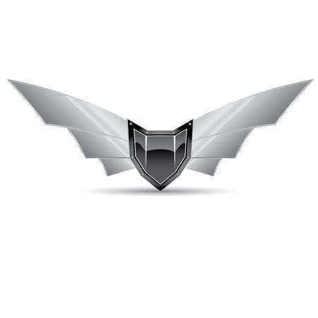 Vector metallic automotive motorcycle badge with wings Vector