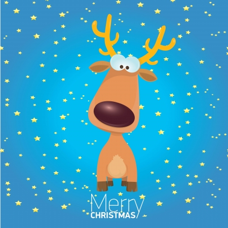 kids merry christmas illustration with reindeer Vector