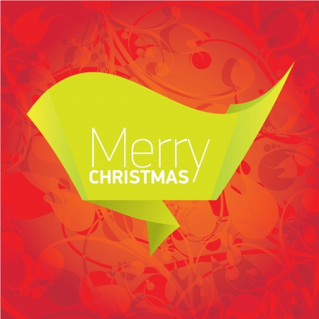 merry christmas background with green origami bow or ribbon Vector