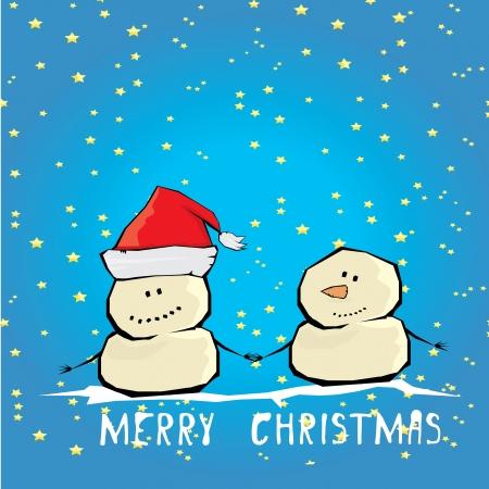 Vector comic cartoon merry christmas illustration with snowman. Illustration