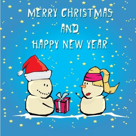 Vecteur comique bande dessinée joyeux noël illustration avec bonhomme de neige. Vecteurs